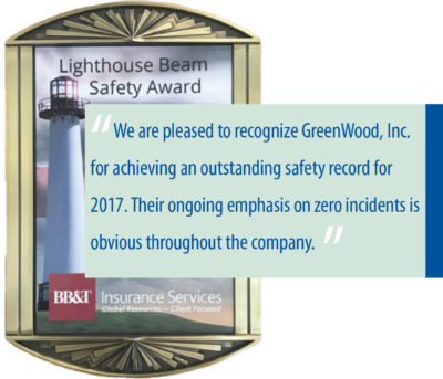 GreenWood, Inc. Earns Prestigious BB&T Lighthouse Beam Safety Award
